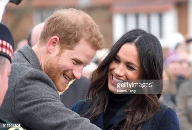 Prince Harry and Meghan Markle visit Edinburgh Castle during their first official joint visit to Scotland on February 13 2018 in Edinburgh Scotland
