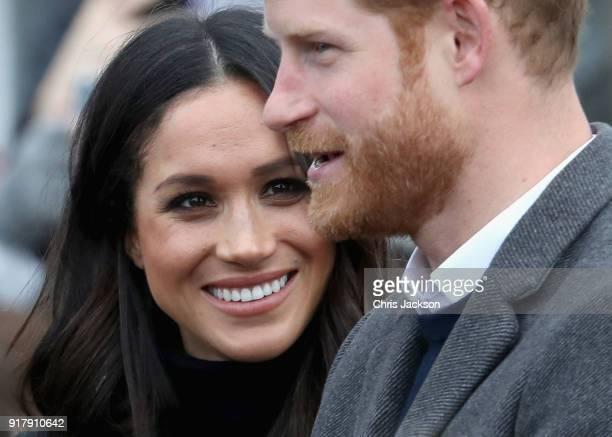 Prince Harry and Meghan Markle visit Edinburgh Castle on February 13 2018 in Edinburgh Scotland