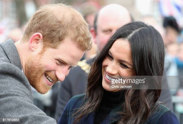 Prince Harry and Meghan Markle visit Edinburgh Castle on February 13 2018 in Edinburgh Scotland