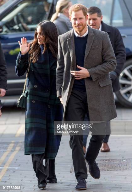 Prince Harry and Meghan Markle visit Social Bite Cafe on February 13 2018 in Edinburgh Scotland