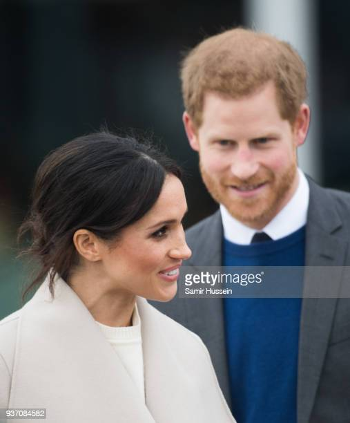 Prince Harry and Meghan Markle visit the iconic Titanic Belfast during their visit to Northern Ireland on March 23, 2018 in Belfast, Northern...
