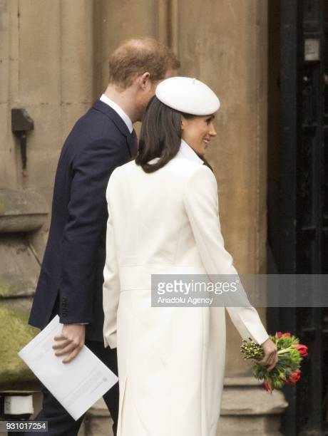 Prince Harry and Meghan Markle walk into the Dean's Yard in Westminster Abbey to attend a reception after celebrating Commonwealth Day in London on...