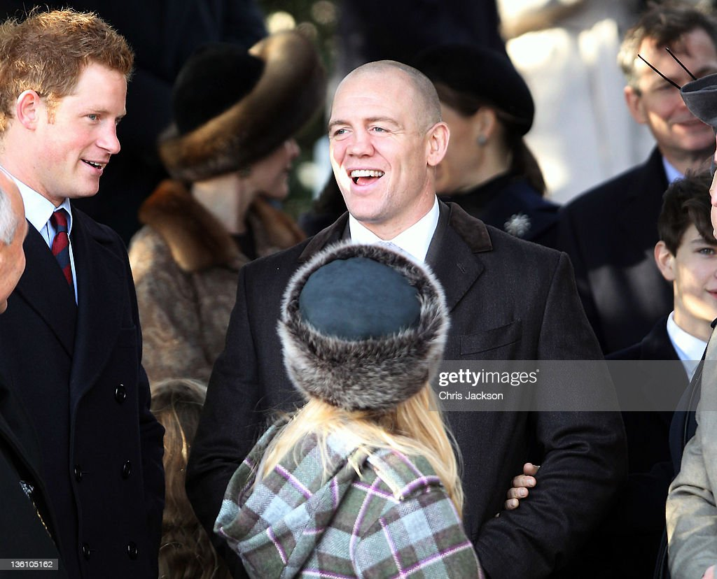 25: Prince Harry and Mike Tindall leave Sandringham Church for the traditional Christmas Day service at Sandringham on December 25, 2011 in King's Lynn, England. The Queen and the Duke of Edinburgh traditionally lead the royals in attending a church service at Sandringham Church on Christmas Day. It is the Duchess of Cambridge's first Christmas at Sandringham after her marriage to Prince William, Duke of Cambridge in April of this year. This year the Duke of Edinburgh missed the service as he is in Papworth Hospital after having cardiac surgery to fit a stent in his coronary artery. .
