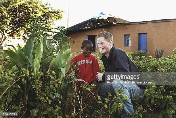 Prince Harry and Mutsu Potsane inspect the Peach Tree that they planted in March 2004 in the grounds of the Mants'ase children's home while on a...