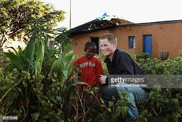 Prince Harry and Mutsu Potsane inspect the Peach Tree that they planted, in March 2004, in the grounds of the Mants'ase childrens home while on a...