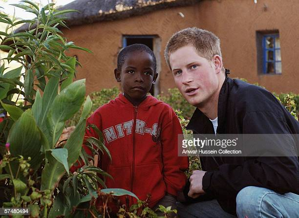 Prince Harry and Mutsu Potsane inspect the Peach Tree that they planted, on March 2004, in the grounds of the Mants'ase childrens home while on a...