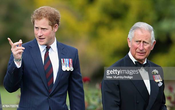 Prince Harry and Prince Charles, Prince of Wales attend the Gurkha 200 Pageant at the Royal Hospital Chelsea on June 9, 2015 in London, England.