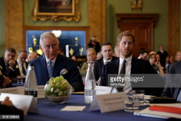 Prince Harry and Prince Charles, Prince of Wales attend the 'International Year of The Reef' 2018 meeting at Fishmongers Hall on February 14, 2018 in...