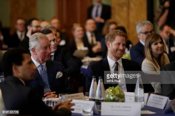 Prince Harry and Prince Charles Prince of Wales attend the 'International Year of The Reef' 2018 meeting at Fishmongers Hall on February 14 2018 in...