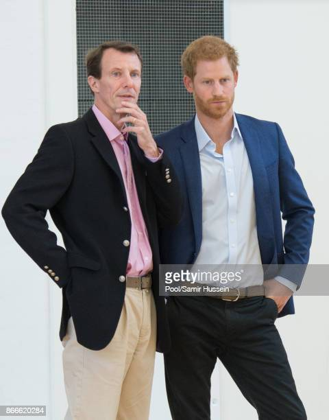 Prince Harry and Prince Joachim of Denmark visit the Danish Veteran Centre where they watched a Rolling Floorball match a sport invented by Danish...