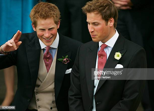 Prince Harry and Prince William arrive for the Civil Ceremony for the marriage between HRH Prince Charles and Mrs Camilla Parker Bowles at The...