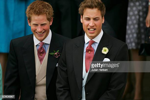 Prince Harry and Prince William arrive for the Civil Ceremony for the marriage between HRH Prince of Wales and Mrs Camilla Parker Bowles, at The...