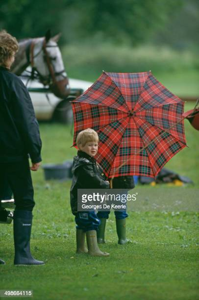 Prince Harry and Prince William at a polo match in Cirencester UK 6th June 1987