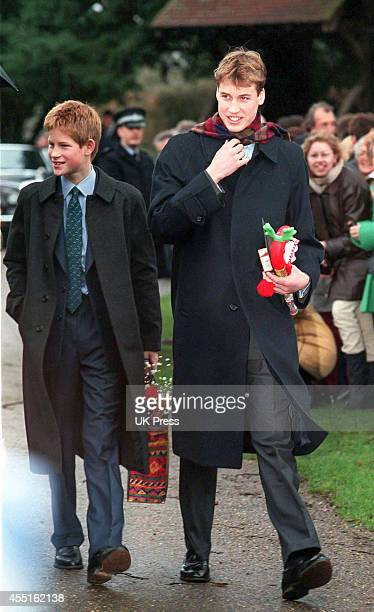 KINGDOM DECEMBER 25 Prince Harry and Prince William attend the annual Christmas Day service at Sandringham Church on December 25 1998 in Sandringham...