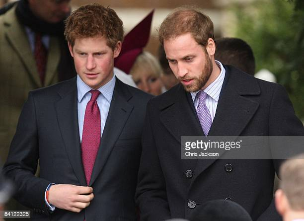 Prince Harry and Prince William attend the Christmas Day church service at St Mary's Church on December 25 2008 in Sandringham England