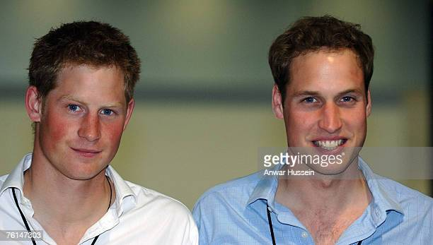 Prince Harry and Prince William attend the preparations for the Concert for Diana at Wembley Stadium on June 30 2007 in London England