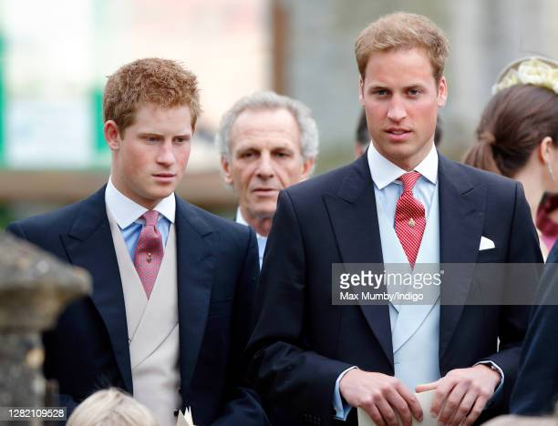 Prince Harry and Prince William attend the wedding of Laura Parker Bowles and Harry Lopes at St Cyriac's Church on May 6, 2006 in Lacock, England.