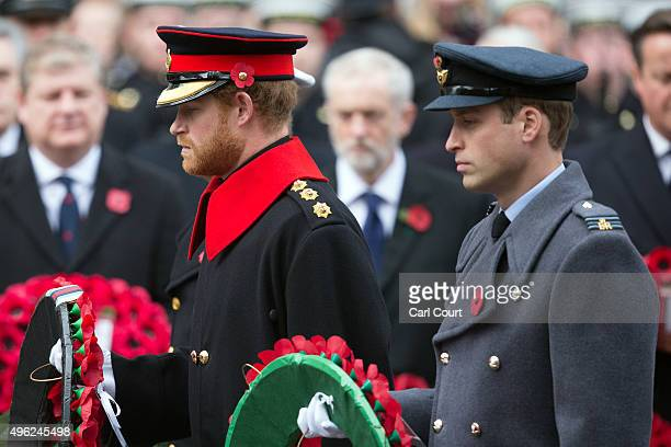 Prince Harry and Prince William Duke of Cambridge attend the annual Remembrance Sunday Service at the Cenotaph on Whitehall on November 8 2015 in...