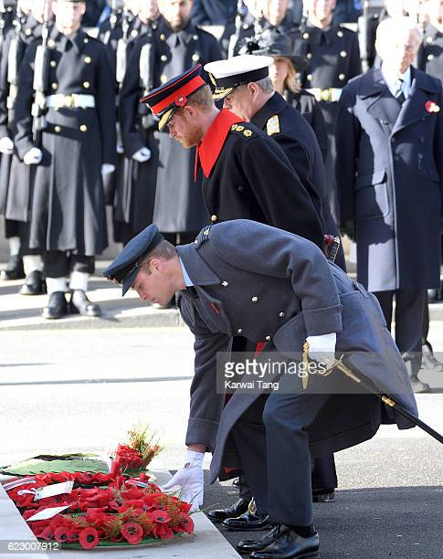 Prince Harry and Prince William Duke of Cambridge attend the annual Remembrance Sunday Service at the Cenotaph on Whitehall on November 13 2016 in...