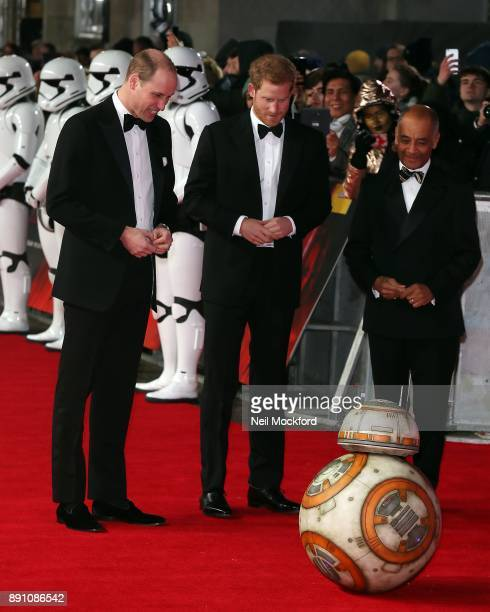 Prince Harry and Prince William Duke of Cambridge attend the European Premiere of 'Star Wars The Last Jedi' at Royal Albert Hall on December 12 2017...