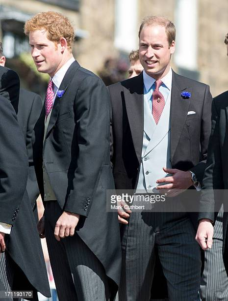 Prince Harry and Prince William Duke of Cambridge attend the wedding of Melissa Percy and Thomas van Straubenzee at Alnwick Castle on June 22 2013 in...