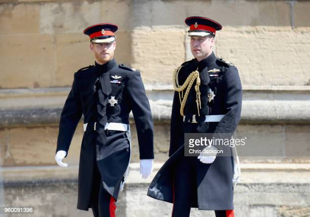 Prince Harry and Prince William, Duke of Cambridge attend the wedding of Prince Harry to Ms Meghan Markle at St George's Chapel, Windsor Castle on...
