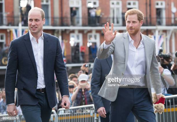 Prince Harry and Prince William, Duke of Cambridge meet the public in Windsor on the eve of the wedding at Windsor Castle on May 18, 2018 in Windsor,...