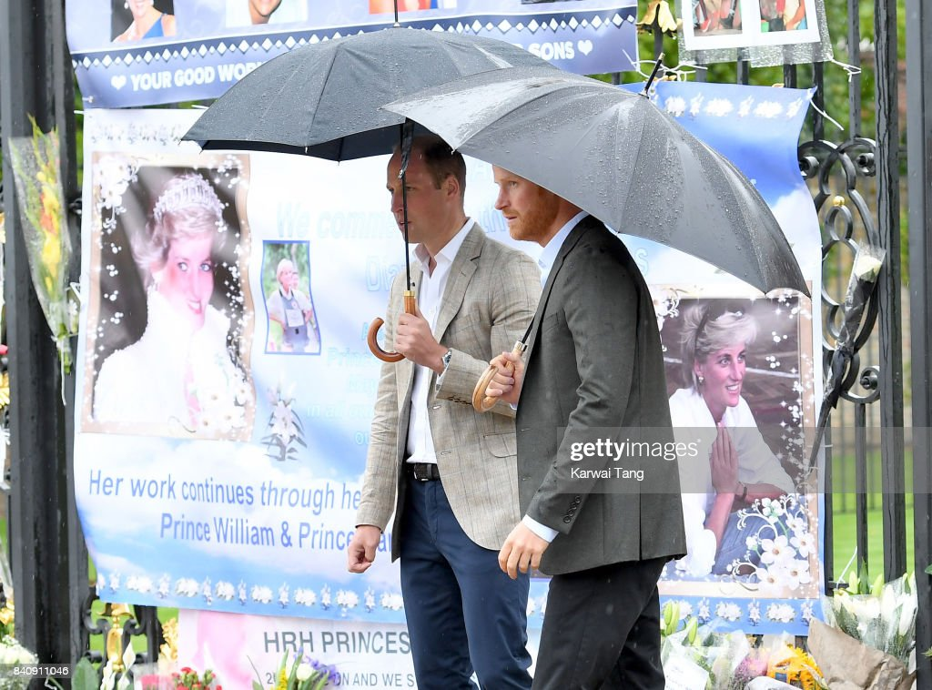 Prince Harry and Prince William, Duke of Cambridge meet well wishers and views tributes to Princeess Diana after a visit to The Sunken Garden at Kensington Palace on August 30, 2017 in London, England. The garden has been transformed into a White Garden dedicated in the memory of Princess Diana, mother of Prince WIlliam, Duke of Cambridge and Prince Harry.