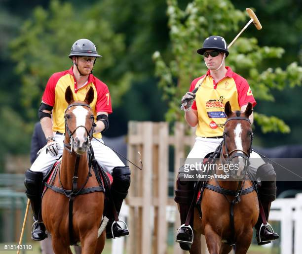 Prince Harry and Prince William Duke of Cambridge play in the Jerudong Park Trophy charity polo match at Cirencester Park Polo Club on July 15 2017...