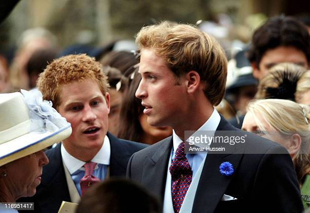 Prince Harry and Prince William during Tom Parker Bowles And Sara Buys Wedding at St Nicholas Church in Rotherfield Greys Great Britain
