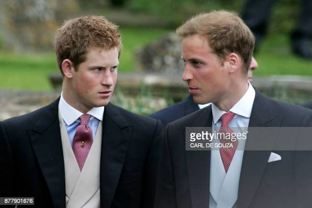 Prince Harry and Prince William leave Lacock Cyraiax Church after the wedding of Laura ParkerBowles daughter of Camilla ParkerBowles Duchess of...