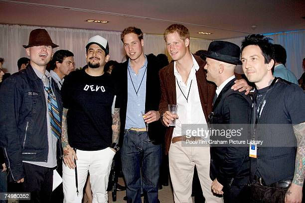 Prince Harry and Prince William meet Jason Pebworth Kevin Roentgen Johnny Lonely and Chris Cano of Orson at the after concert party the Princes...