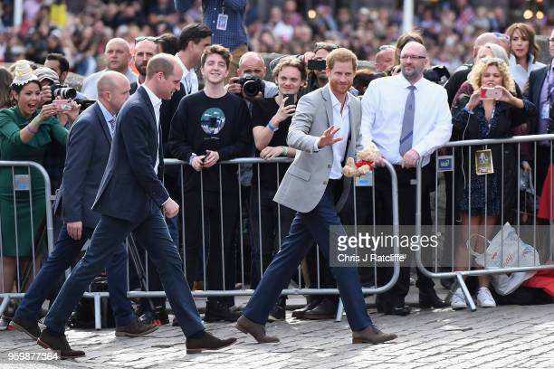 Prince Harry and Prince William meet the public during a pre wedding walkabout ahead of the royal wedding of Prince Harry to Meghan Markle on May 18...
