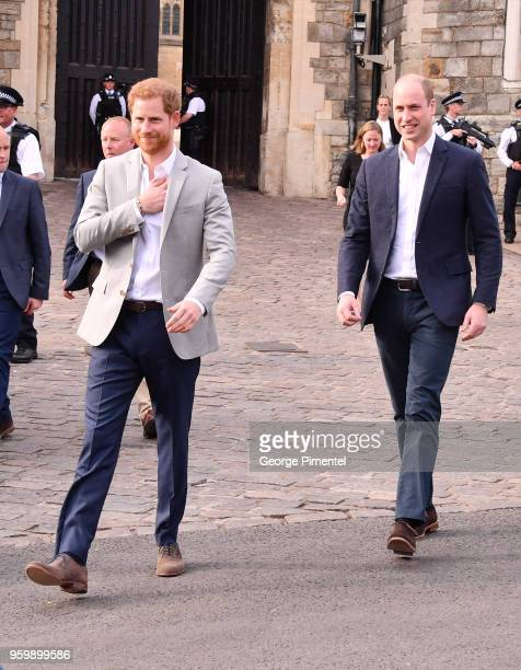Prince Harry and Prince William meet the public in Windsor on the eve of the wedding at Windsor Castle on May 18 2018 in Windsor England