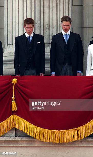 Prince Harry and Prince William on the balcony at Buckingham Palace for the Trooping of the Colour 2003