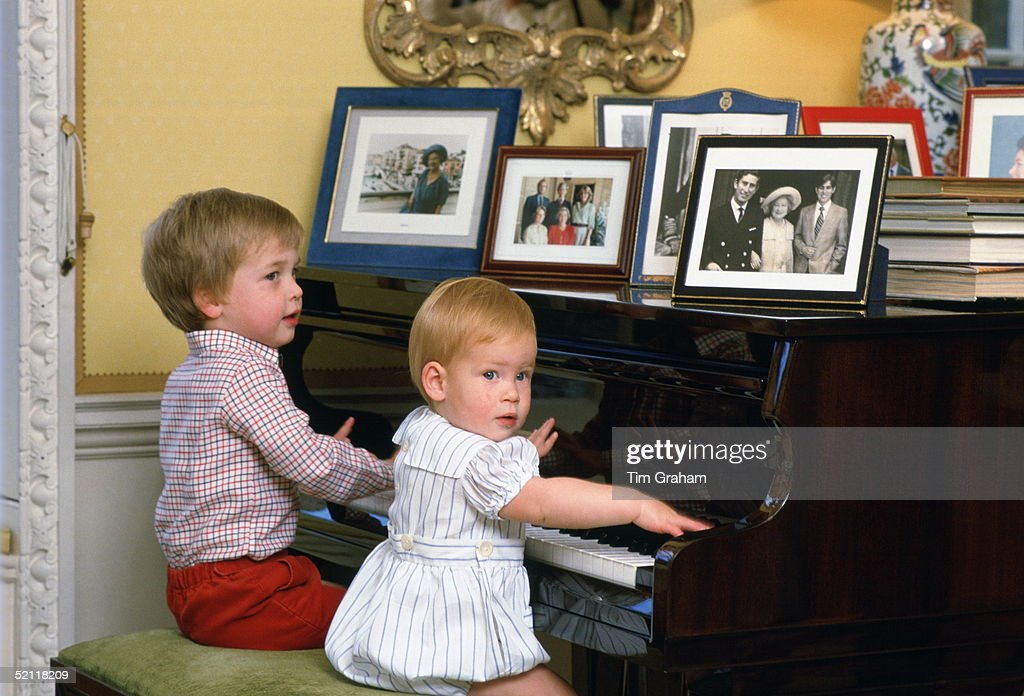 William And Harry Playing The Piano : News Photo