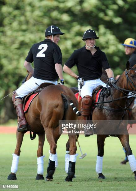 Prince Harry and Prince William take part in a charity polo match at the the Beaufort Polo Cub on June 22 2008 in Tetbury England