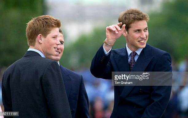 Prince Harry And Prince William Waving To The Huge Crowds In The Mall For The Queen's Golden Jubilee With Them Is Their Cousin P Phillips