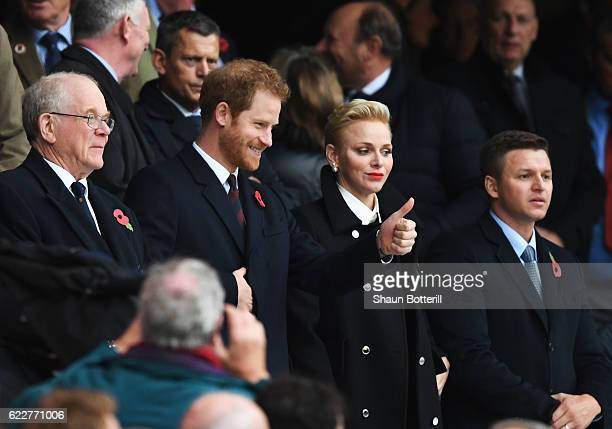 Prince Harry and Princess Charlene of Monaco are seen in the stand prior to the Old Mutual Wealth Series match between England and South Africa at...