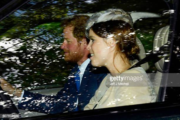 Prince Harry and Princess Eugenie of York drive from Crathie Church on September 18 2016 in Crathie Scotland Prime Minister Theresa May has spent the...