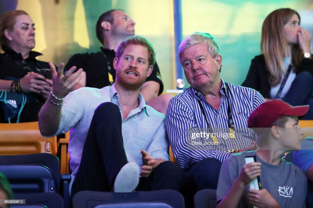 Prince Harry (L) and Sir Keith Mills attend powerlifting finals during the Invictus Games 2017 at Mattamy Athletics Centre on September 25, 2017 in Toronto, Canada
