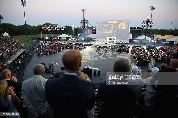 Prince Harry and Sir Keith Mills watch the Opening Ceremony of the Invictus Games Orlando 2016 at ESPN Wide World of Sports on May 8 2016 in Orlando...