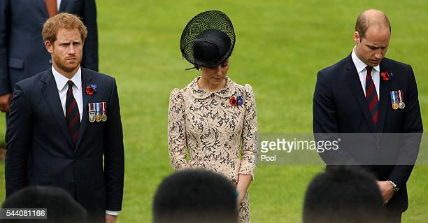 Prince Harry and the Duke and Duchess of Cambridge during the Commemoration of the Centenary of the Battle of the Somme at the Commonwealth War...