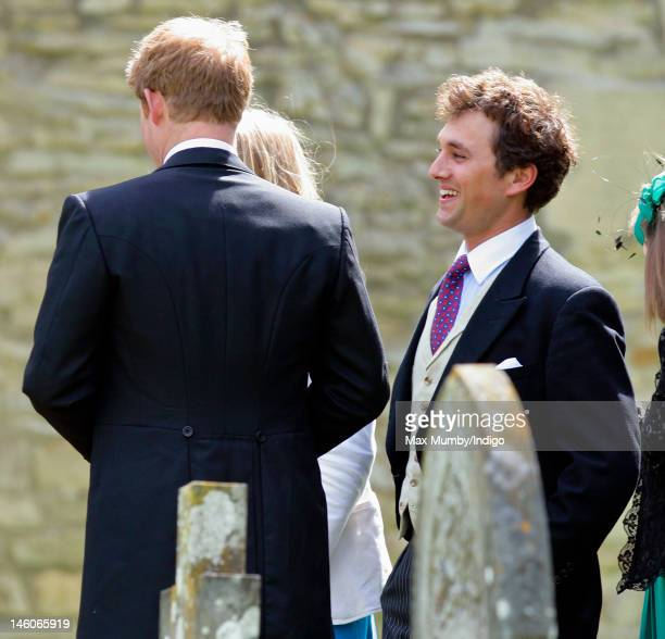 Prince Harry and Thomas van Straubenzee attend the wedding of Emily McCorquodale and James Hutt at The Church of St Andrew and St Mary Stoke Rochford...