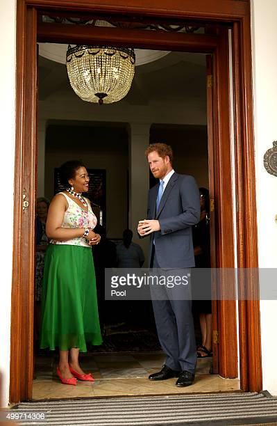 Prince Harry and Tobeka Madiba Zuma the wife of South African President Jacob Zuma say goodbye after a visit to the President' s Official Residence...