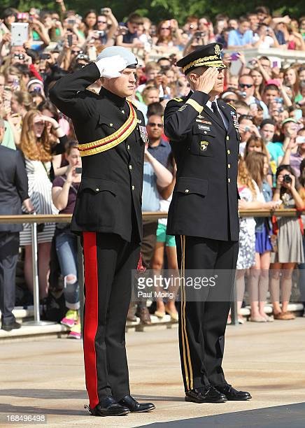 Prince Harry and U.S. Army Major General Linnington attend a wreath laying ceremony during Prince Harry's second day of his visit to the United...