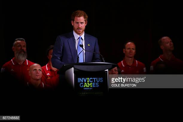 Prince Harry announces that Canada will be hosting the 2017 Invictus games at the Fairmont Royal York Hotel in Toronto May 2 2016 / AFP / Cole Burston