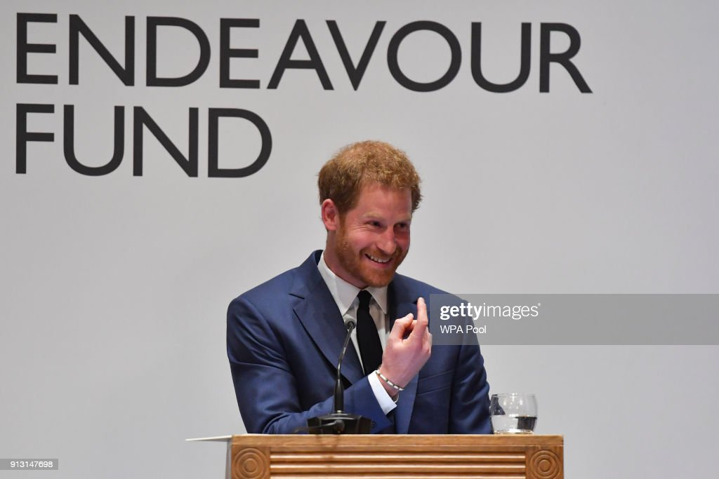 Prince Harry announces the winner of the Henry Worsley Award during the 'Endeavour Fund Awards' Ceremony at Goldsmiths Hall on February 1, 2018 in London, England. The awards celebrate the achievements of wounded, injured and sick servicemen and women who have taken part in remarkable sporting and adventure challenges over the last year.