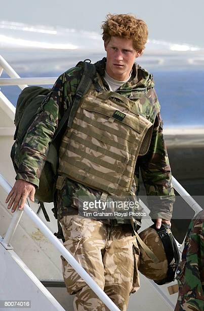 Prince Harry army officer Cornet Wales arrives by Tristar on his return to Britain at Royal Air Force RAF Brize Norton airbase after active service...