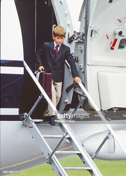 Prince Harry arrives at Aberdeen Airport to spend some of his Summer Holidays at Balmoral Castle Scotland on August 20 in Aberdeen Scotland